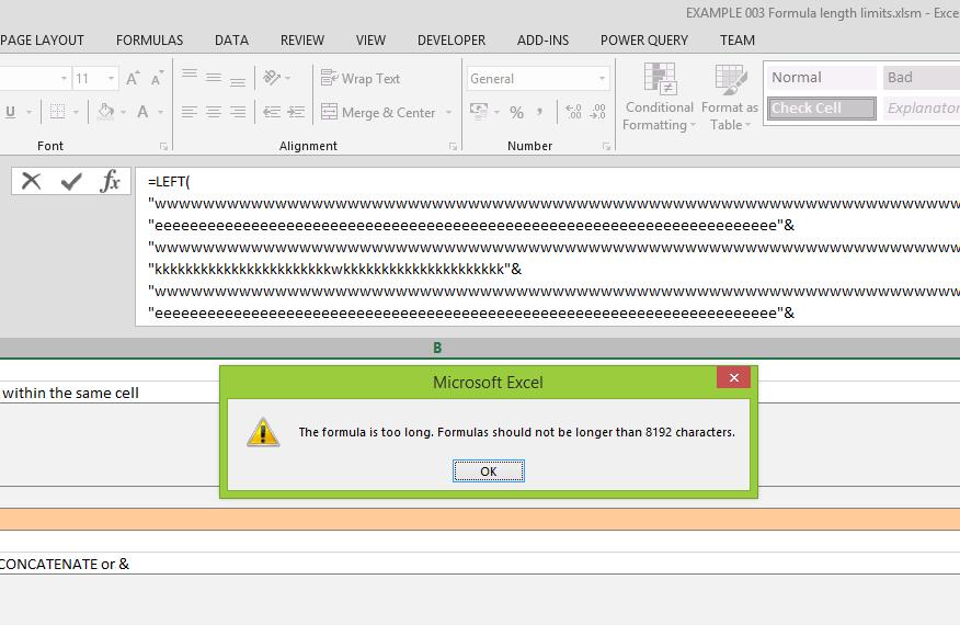 Límite de longitud de fórmulas para Excel